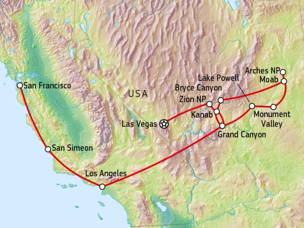 Entdeckungsreise Südwesten USA Karte