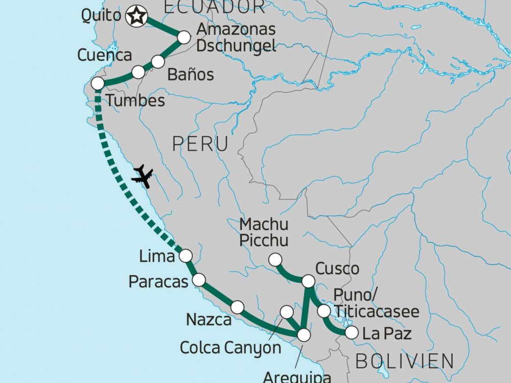 Die Höhepunkte von Ecuador & Peru Karte