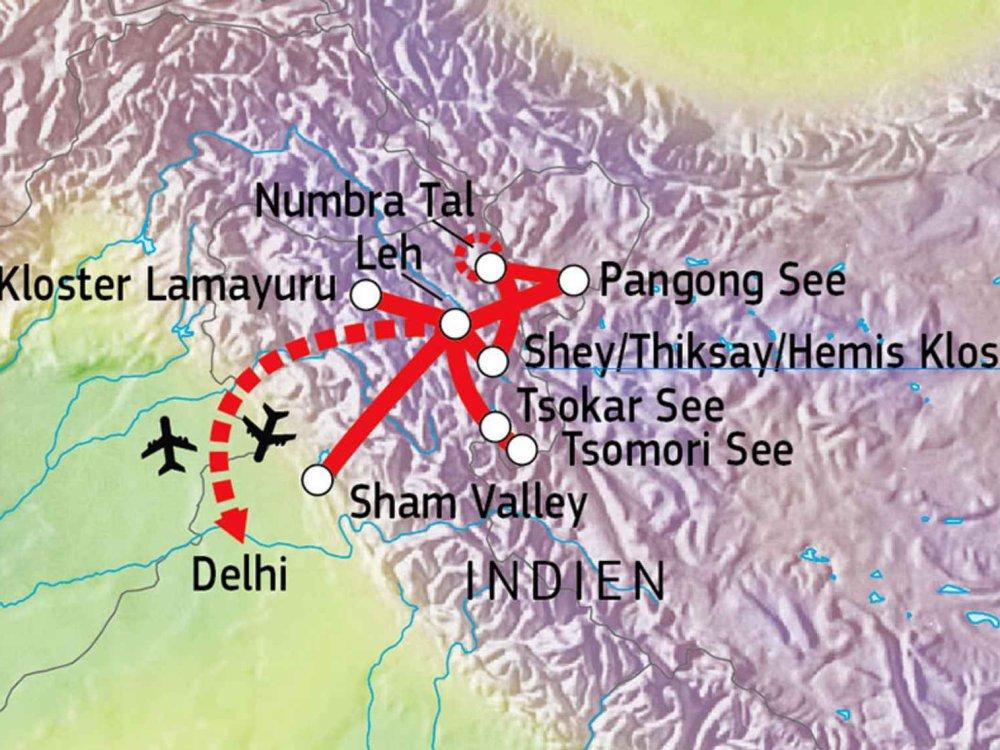 164Y10005 Ladakh - Natur, Kultur & Abenteuer Karte