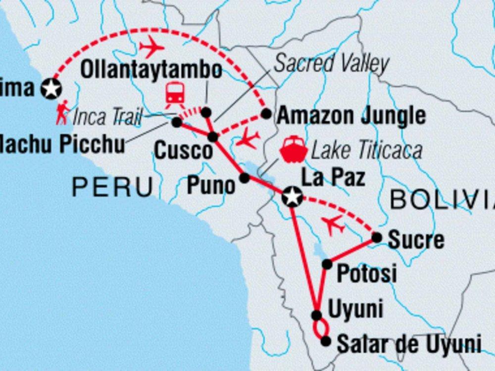 122Y60210 Explore Peru & Bolivia Karte