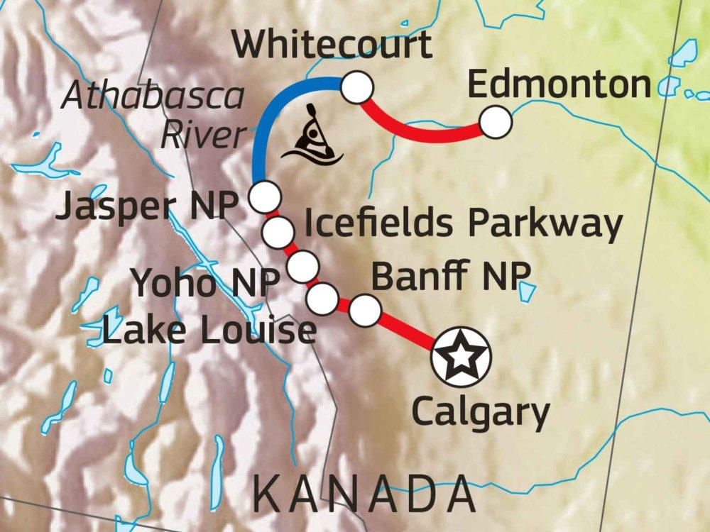 160A10001 Kanada Aktivreise - Rocky Mountains & Kanutour Karte