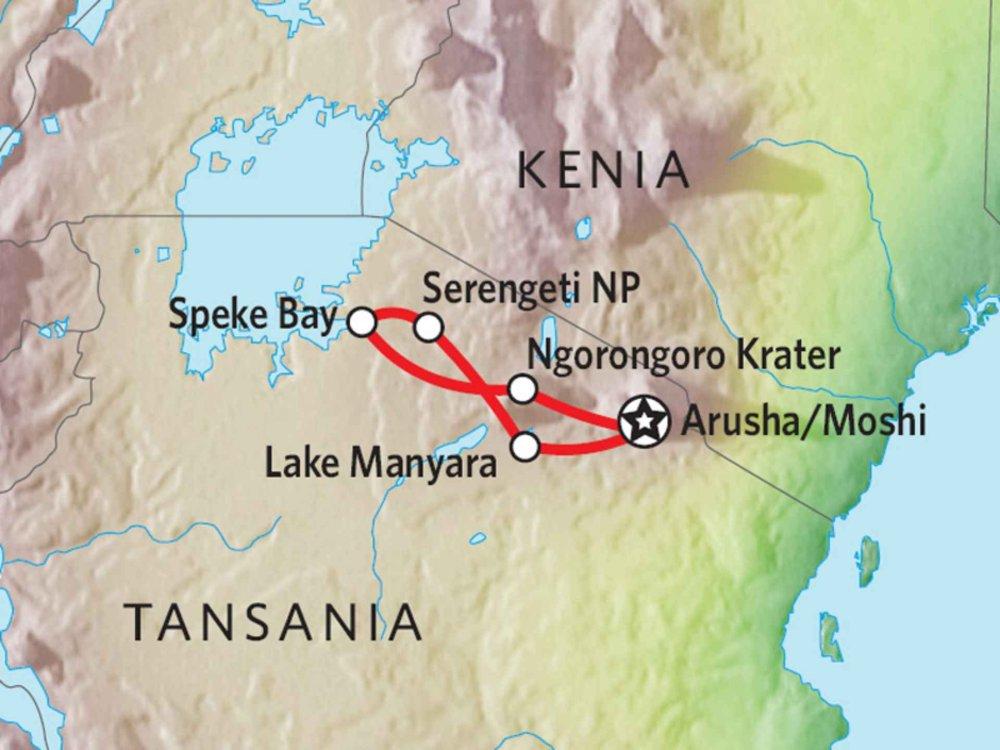 142Y10013 Tansania Abenteuer-Safari mit Komfort IV Karte