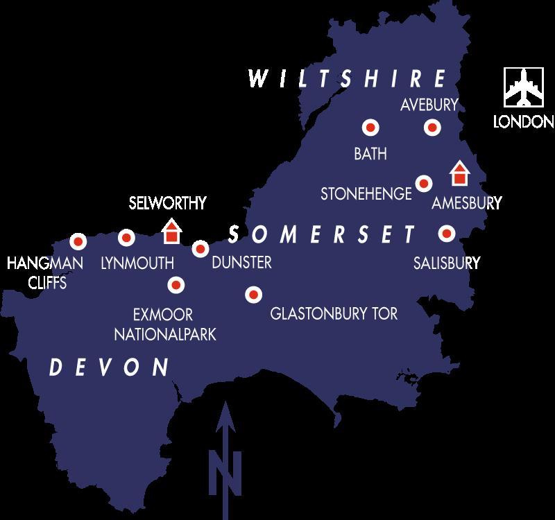 Wanderreise Devon Somerset Wilshire Karte