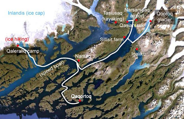 Naturerlebnis Südgrönland Karte