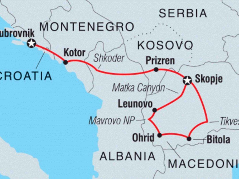 122Y40237 Kroatien, Montenegro und Mazedonien kulinarisch entdecken Karte