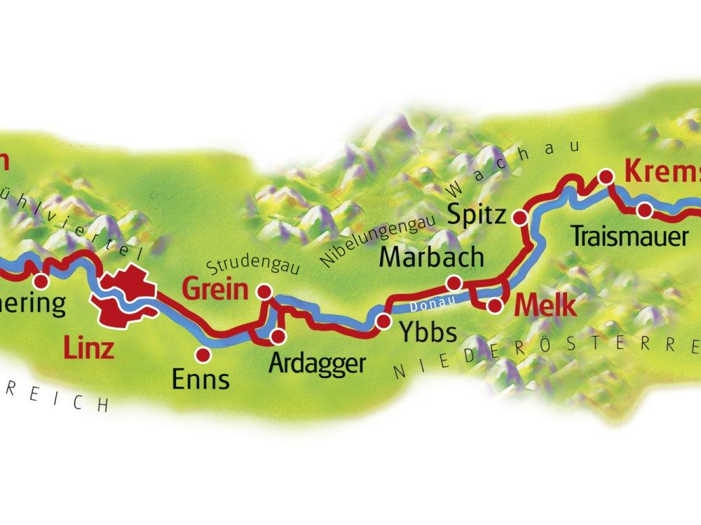 Donauradweg Karte