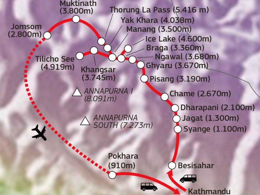 161Y30065 Trekking um die Annapurna mit Tilicho See Karte