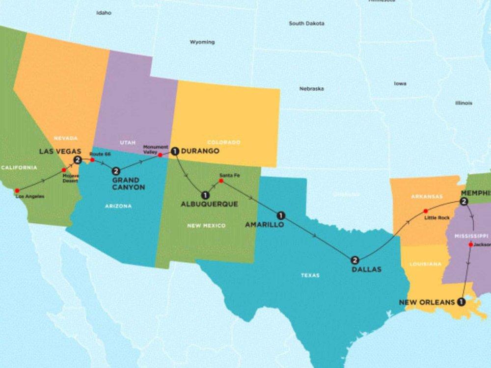 174Y10062 Roadtrip für junge Leute von New Orleans nach Los Angeles Karte