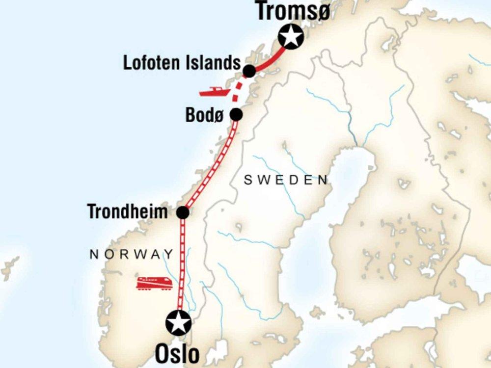 130Y20161 Norwegen per Bahn erleben Karte