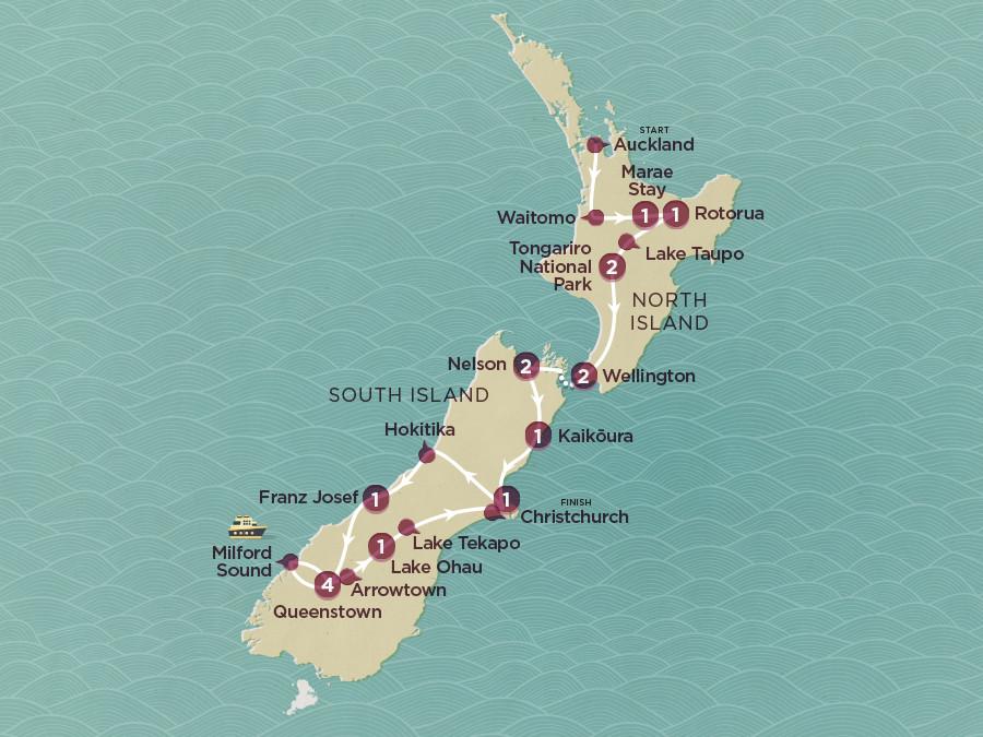 Neuseeland Erlebnisreise für junge Weltentdecker Karte
