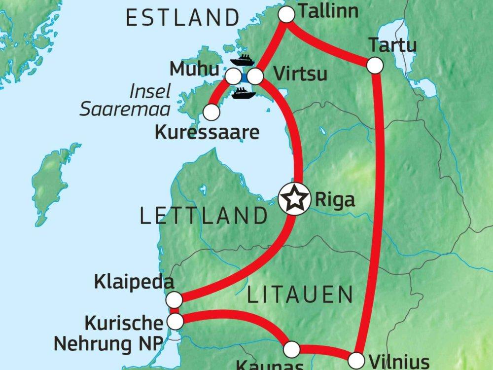 149Y10020 Stadt, Land, Ostsee: Die Highlights des Baltikums Karte