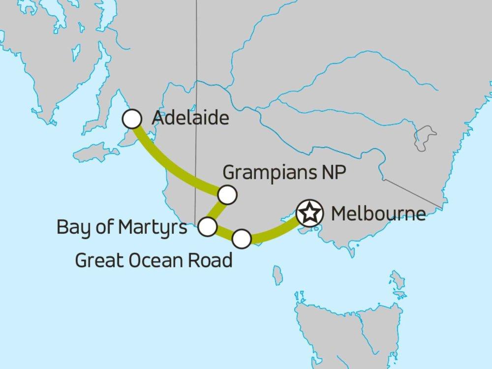 102A10032 Great Ocean Road & Grampians - westwärts Karte