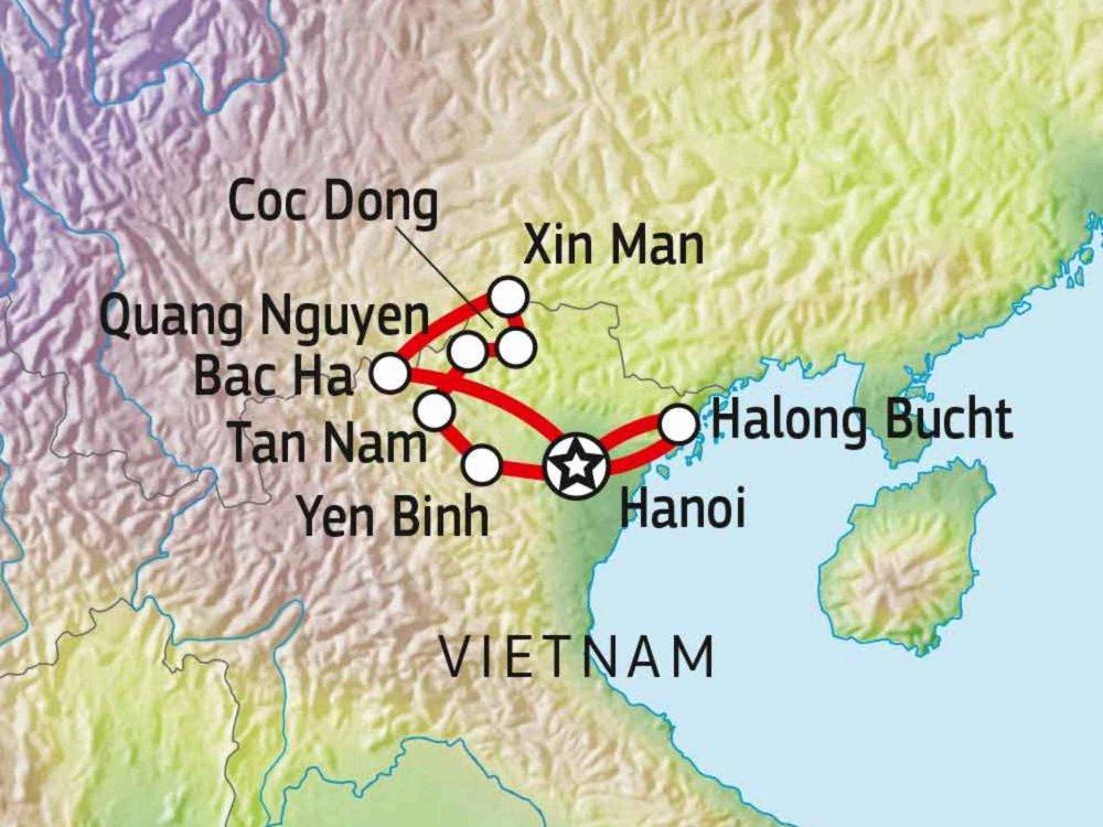 152A10001 Aktivreise durch die Bergwelt Nord-Vietnams Karte