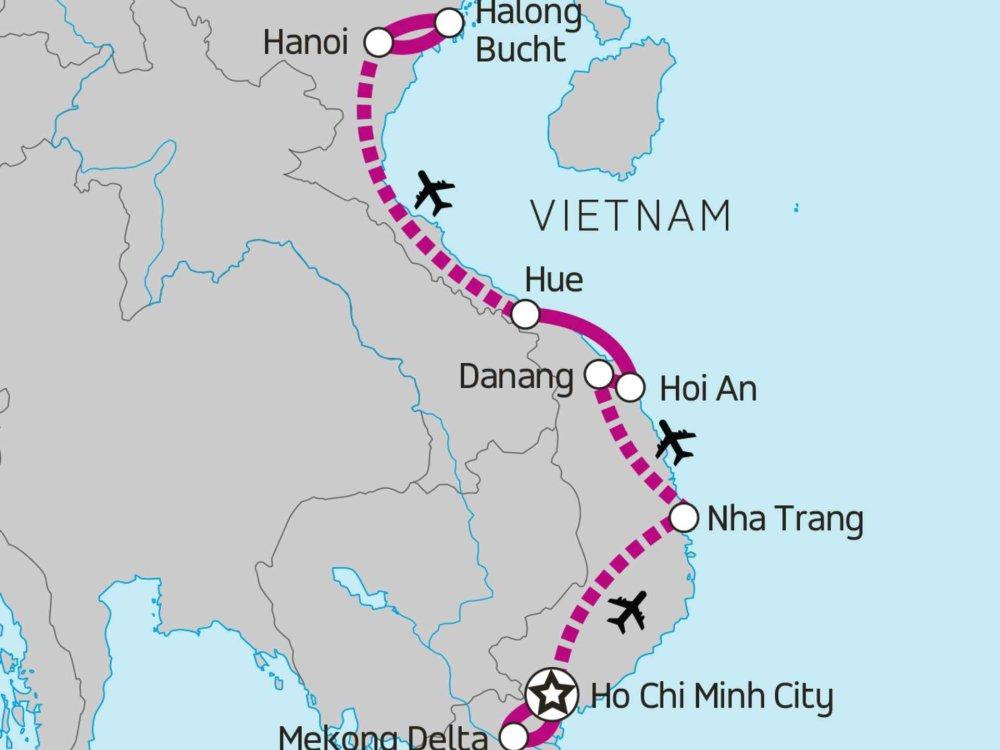 174Y10108 Vietnam von Süd nach Nord Karte