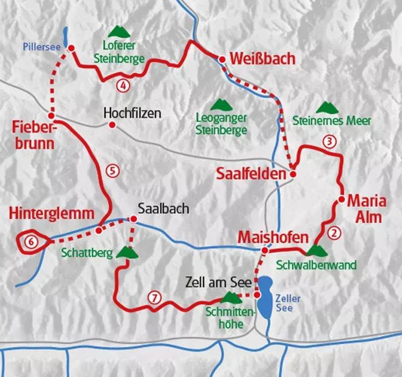 Karte Salzburger Gipfel Kitzbüheler Alpen