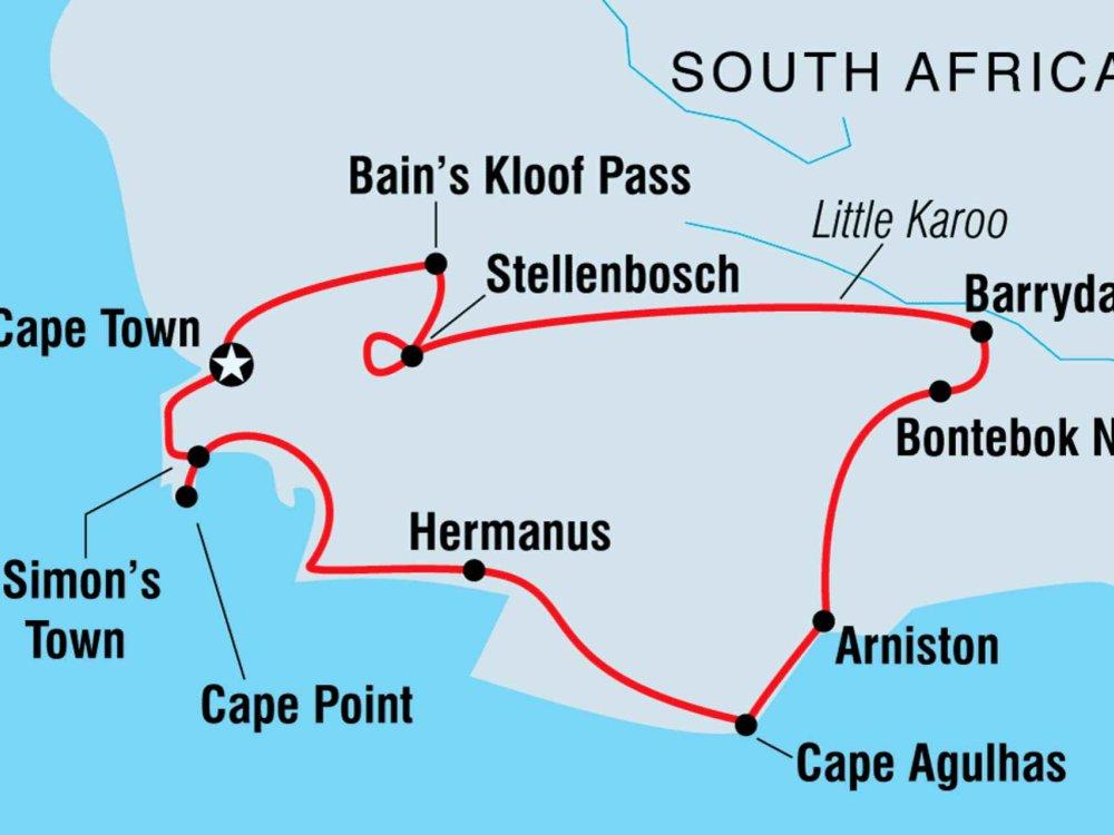 122Y40234 Mit dem Fahrrad durch Südafrika Karte