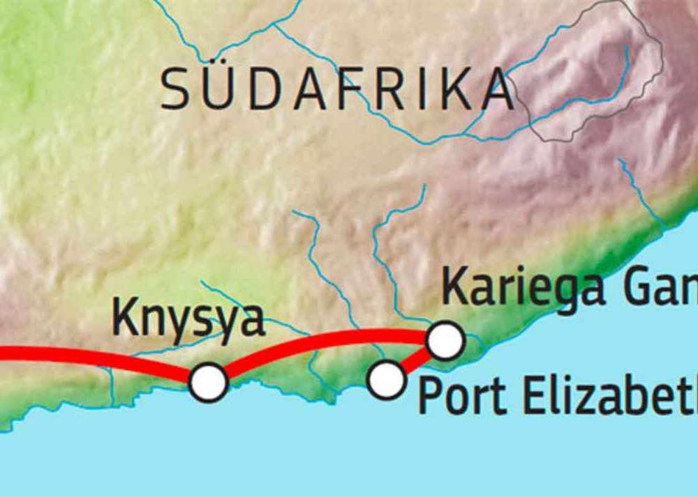 156T00001 Familien-Selbstfahrertour in Südafrika Karte