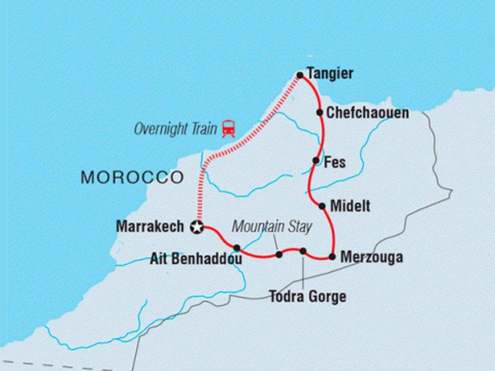 122Y40253 Mit dem Fahrrad durch Marokko Karte