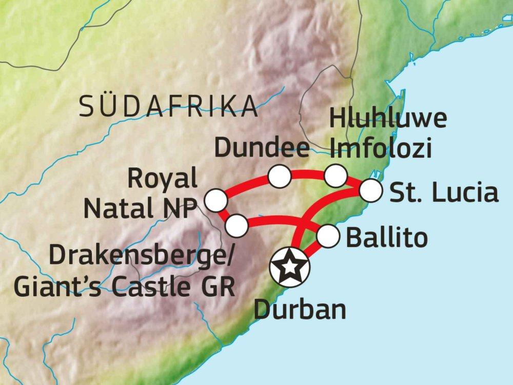 155Y10700 Südafrika Hike & Drive Karte