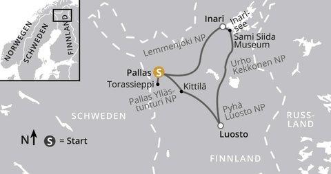Wanderabenteuer Finnisch Lappland Karte
