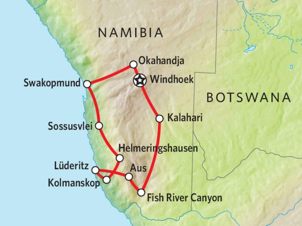 171Y10011 Namibias Süden: Kalahari, Sossusvlei & Swakopmund Karte