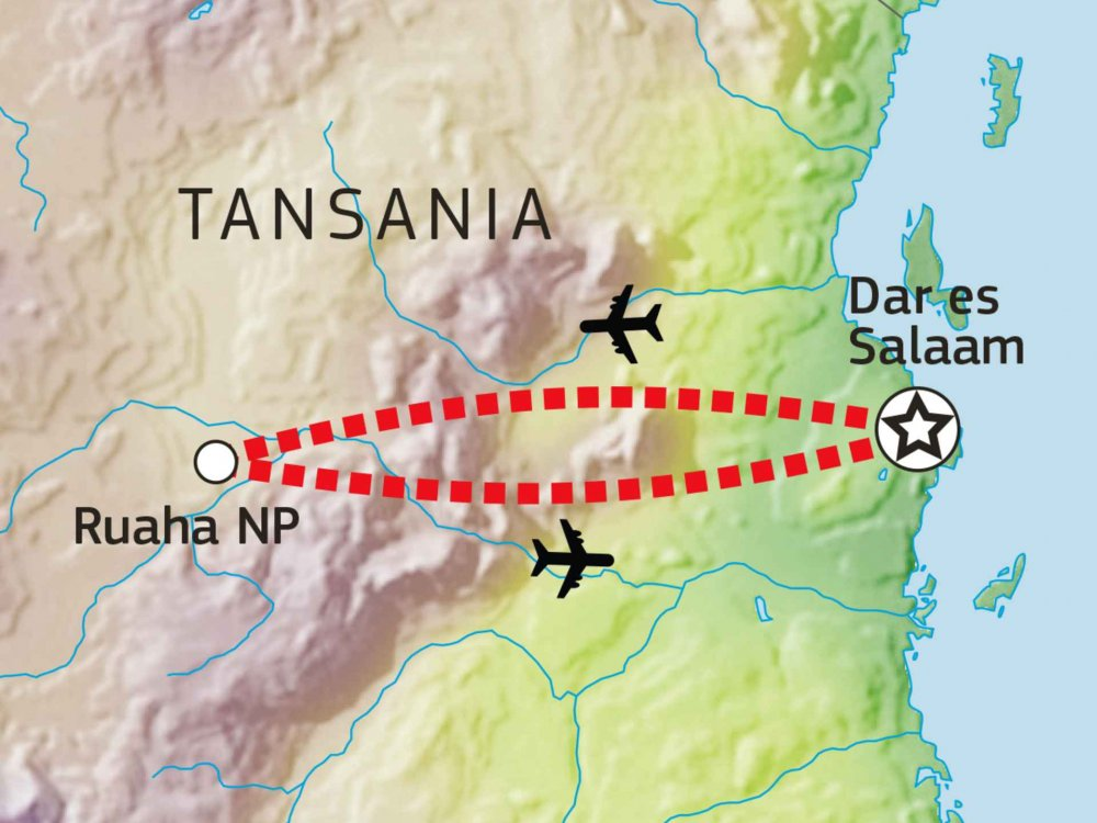 143Y10002 Flugsafari: Ruaha Nationalpark Karte