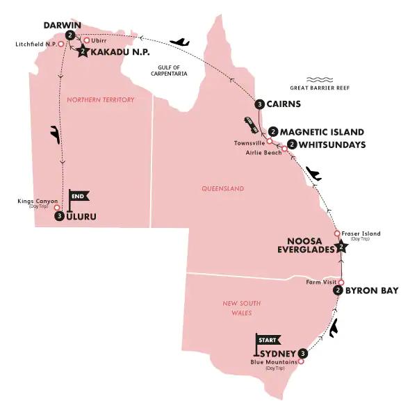 Karte Große Australien Abenteuerreise & Whitsundays