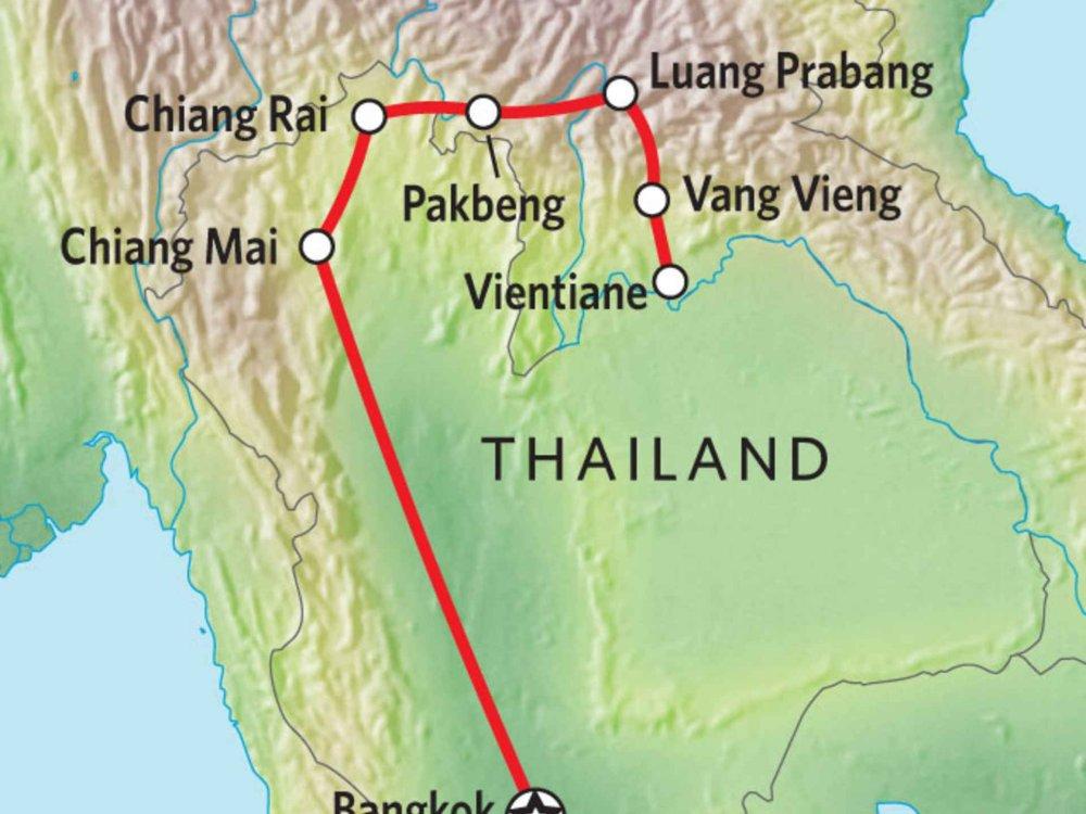 152Y10009 Charmanteste Orte in Thailand & Laos Karte