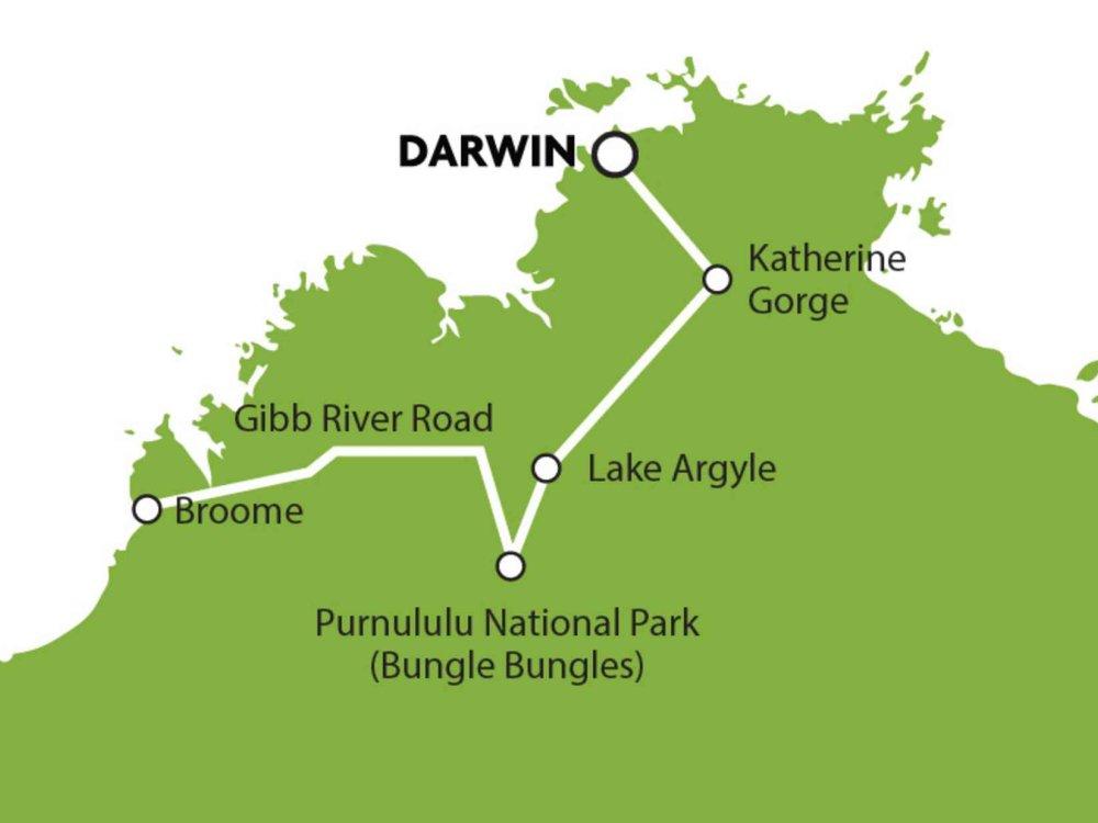 102A10066 Allradtour von Broome nach Darwin Karte