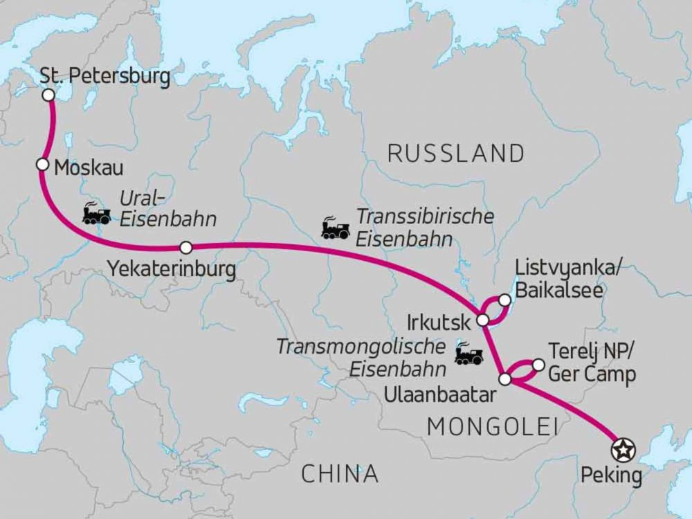 130Y20230 Trans-Mongolian Express Karte