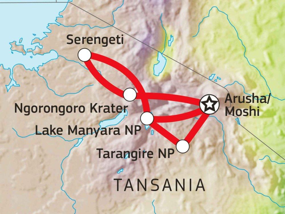 Camping Safari Tansania - Serengeti, Ngorongoro und Tarangire Karte