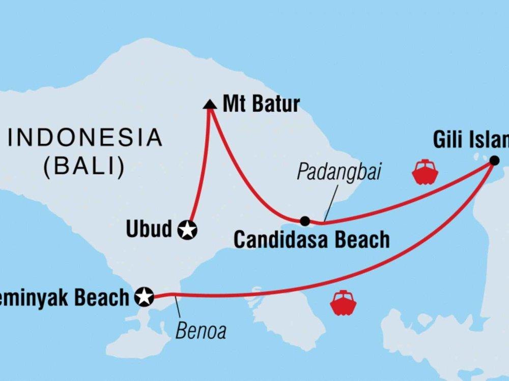 131Y21121 Bali Abenteuerreise & tropische Gili Inseln Karte