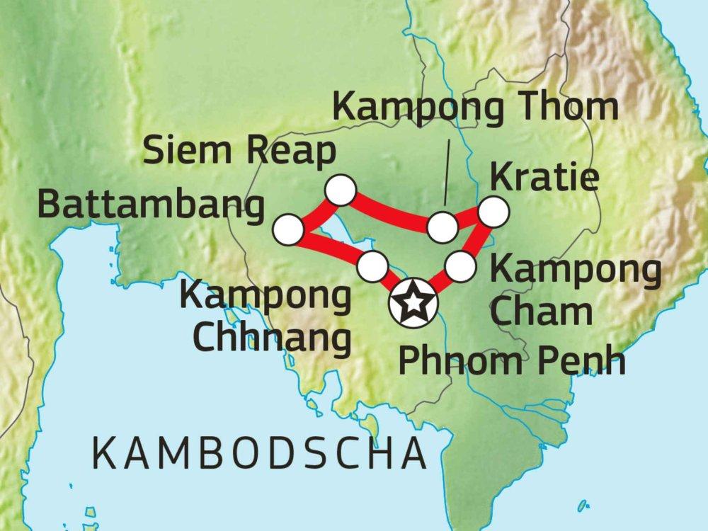 152E20150 Höhepunkte Kambodschas Karte