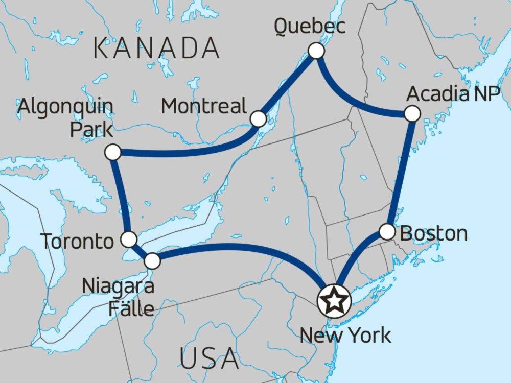 139Y10014 Niagarafälle, Montreal & Acadia Karte