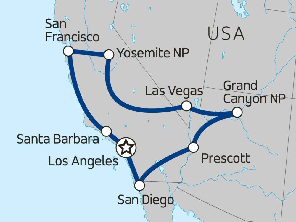 139Y10055 Erlebnisreise Kalifornien & Grand Canyon Karte