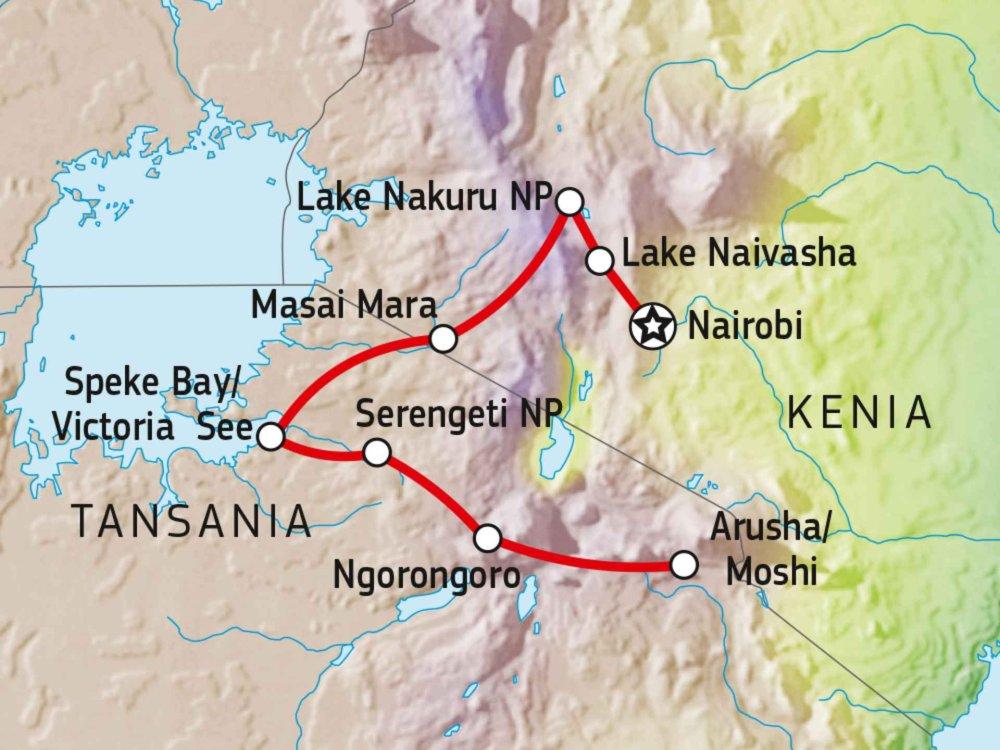142Y10018 Kenia & Tansania Abenteuer Safari mit Komfort Karte