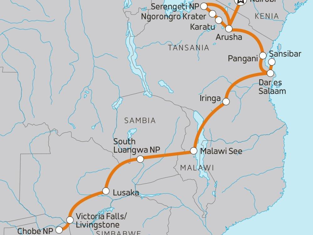 Von der Serengeti zu den Victoriafällen Karte