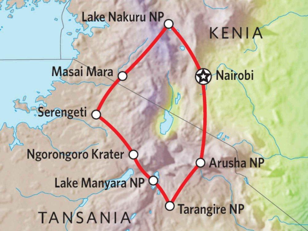 140W41001 Kenia & Tansania Nationalpark Safari Karte