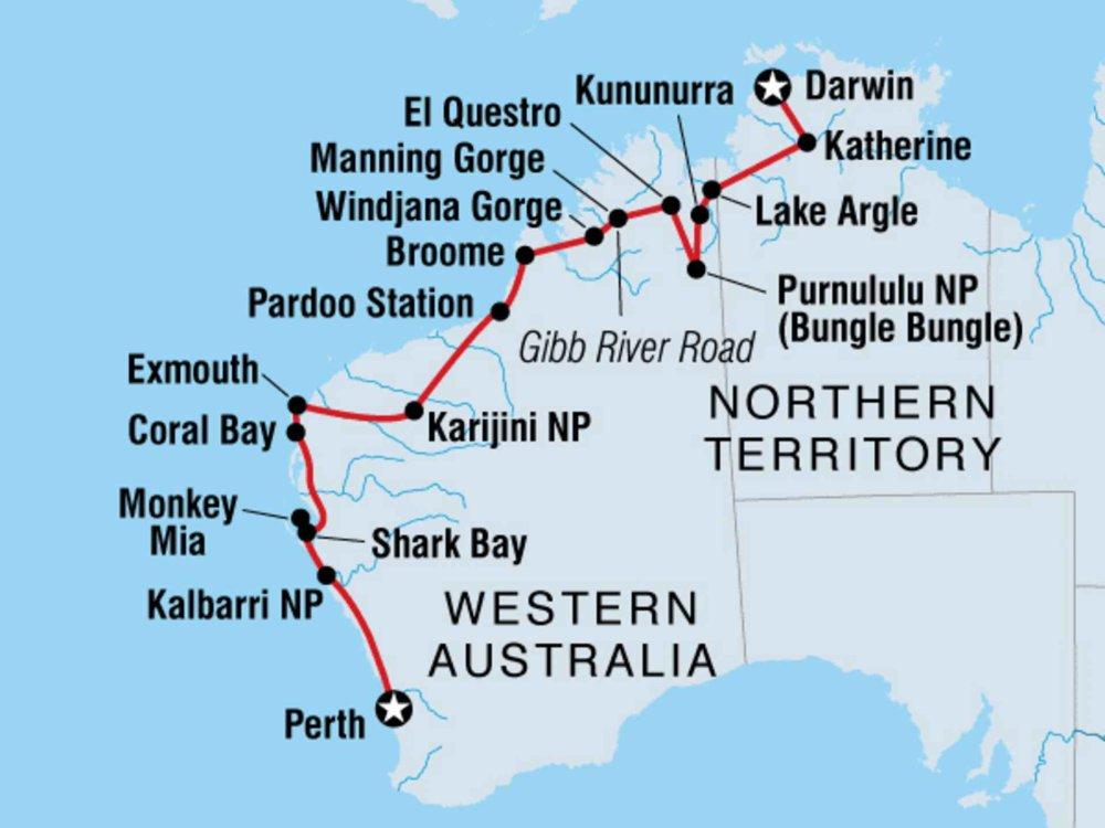 104Y20048 Overland von Perth nach Darwin Karte