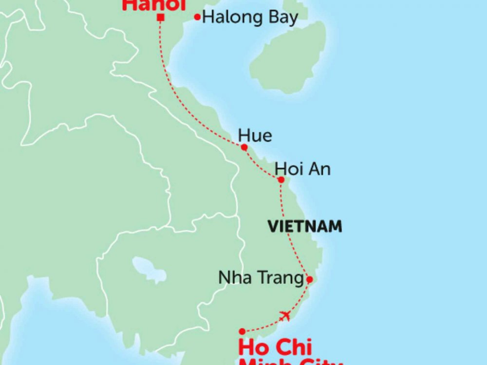 135Y10244 Höhepunkte von Vietnam Karte