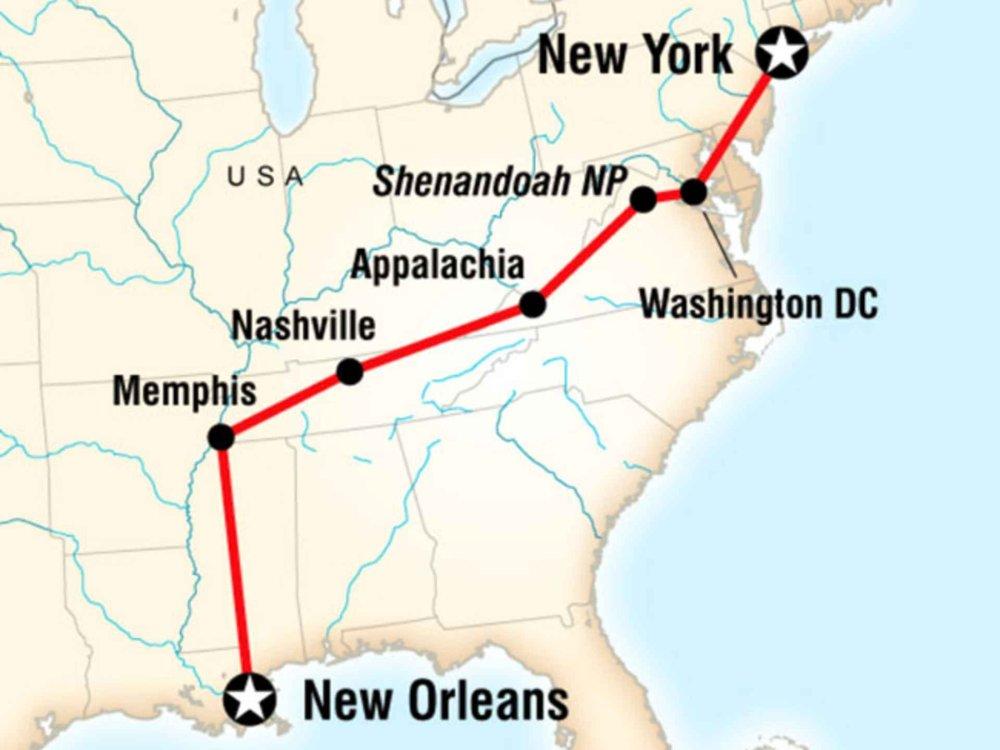 130Y60034 Erlebnistour New Orleans nach New York Karte