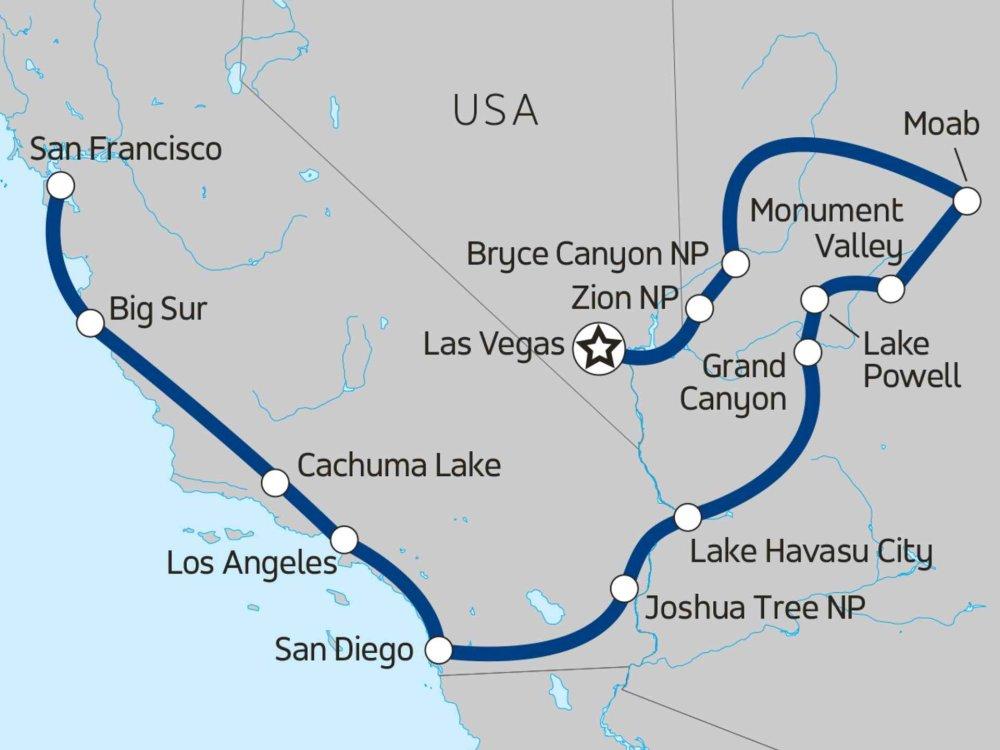 130Y60026 USA Abenteuerreise von Kalifornien zum Grand Canyon Karte