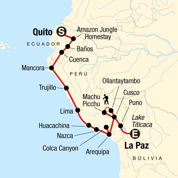 Abenteuerreise durch die Andenländer von Quito to La Paz Karte