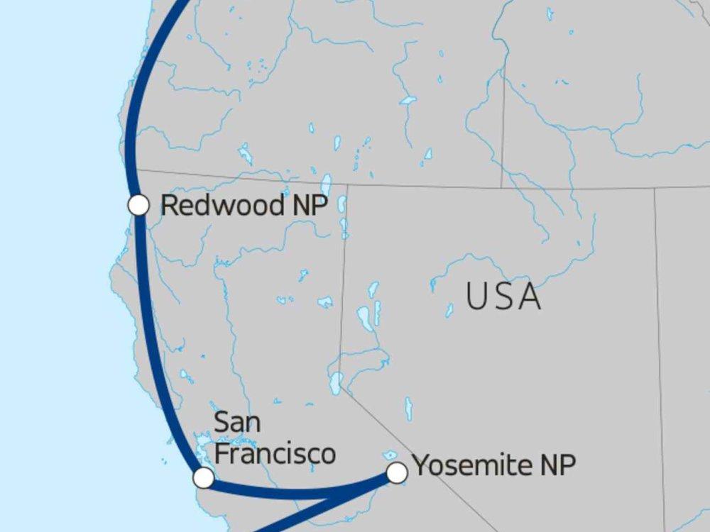 139Y10017 Highlights der Pazifikküste Karte