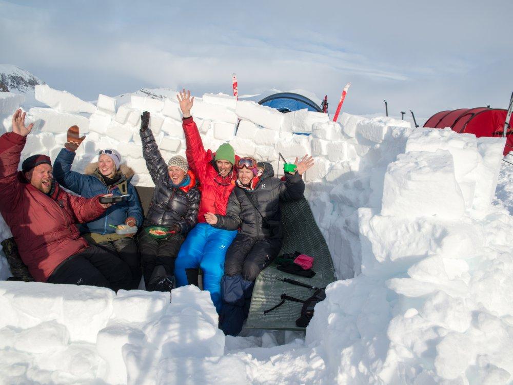 Lustige Gruppe bei der Spitzbergen Ski Expedition