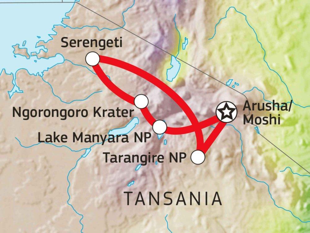 140Y11012 Nationalpark Safari Nord Tansania IV Karte