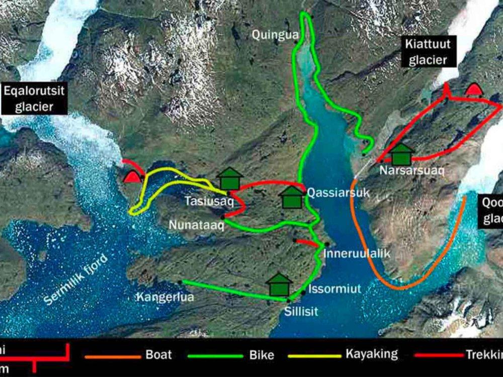 170Y31004 Grönland Aktivreise - Bike, Hike & Kayak Karte
