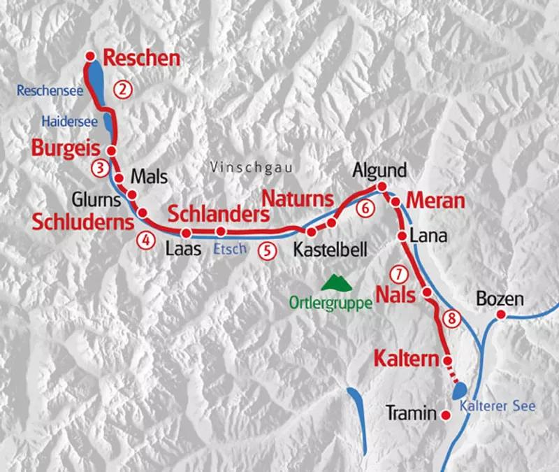 Karte Wandern Südtirol