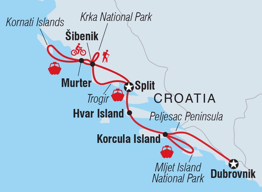 Inselhüpfen Dalmatien Karte
