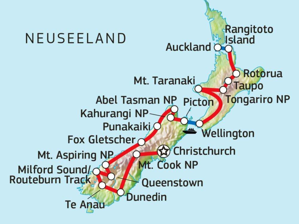 101N50001 Neuseeland Trekking Total Karte